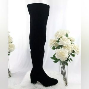 🌸BOGO INC Rikkie 2 Black Velvet Over Knee Boots